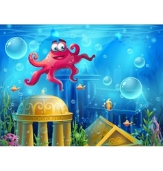 Atlantis ruins cartoon octopus - background vector image vector image