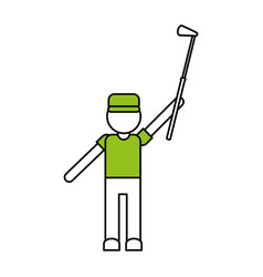 color silhouette cartoon faceless full body golfer vector image