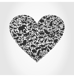 Heart animal3 vector image vector image