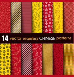 set chinese with ornamental fish vector image