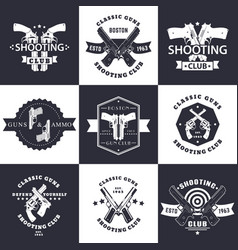Shooting club guns and ammo vintage emblems vector