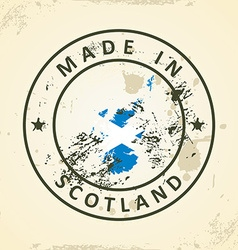 Stamp with map flag of Scotland vector image