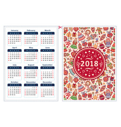 2018 calendar template vector