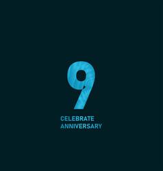 9 year anniversary aqua color template design vector