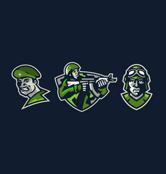 a set logos on a military theme angry soldier vector image