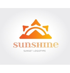Abstract crown sunset on island logo vector