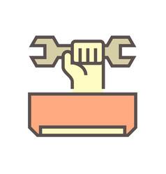 Air conditioner service and technician icon vector