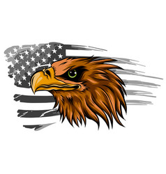 American eagle against usa flag background vector