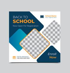 Back to school admission offer social media banner vector