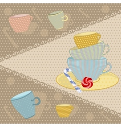 Background of the mugs with candy vector