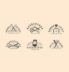 barbershop symbol or logo hairdressing salon vector image