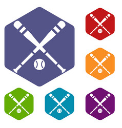 Baseball bat and ball icons set vector