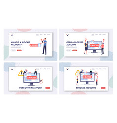 Blocked account landing page template set tiny vector