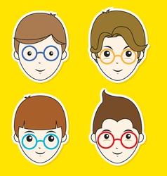 Boy Hair Style Sticker Set vector image
