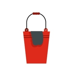 Bucket with a rag icon flat style vector
