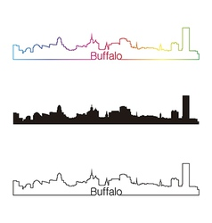 Buffalo skyline linear style with rainbow vector image