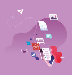 businesswoman sending email and social media vector image
