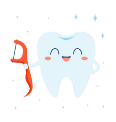cartoon floss and tooth isolated on white vector image
