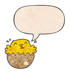 Cartoon hatching chick and speech bubble in retro vector