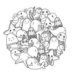 circle shape coloring page with sea animals black vector image