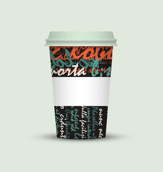 Coffee cup with creative watercolor letters vector