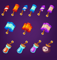 Collection dynamite bomb and tnt objects for vector