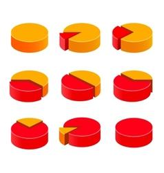 Colorful diagram pie set vector