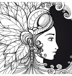 Coloring zentangle woman face on black vector