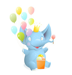 Cute baby elephant cartoon for kids celebrating vector