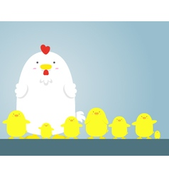 cute big fat white hen and chicken vector image