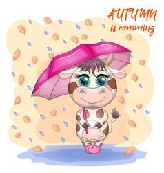 cute cartoon bull with umbrella among autumn vector image