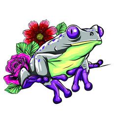cute frog cartoon cartoon frog sitting vector image