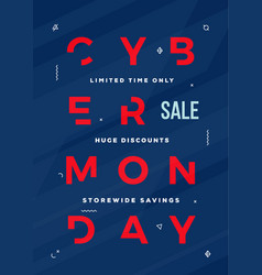 cyber monday flyer card or banner template vector image