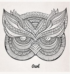 Decorative ornamental Owl head vector