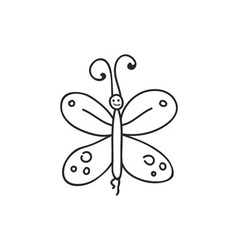 Doodle butterfly animal icon vector