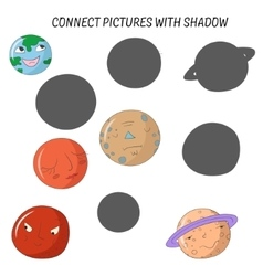 Educational game connect pictures with shadow vector image