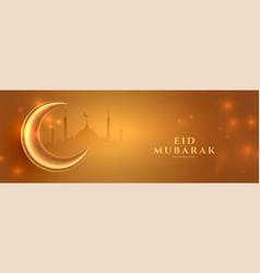 Eid mubarak golden banner with moon and mosque vector