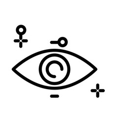 Eye isolated outline icon human vision organ vector