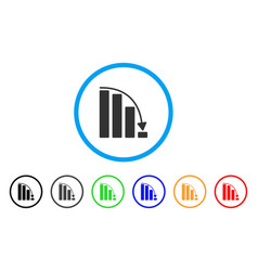 Falling acceleration bar chart rounded icon vector