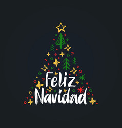 feliz navidad handwritten phrasetranslated from vector image