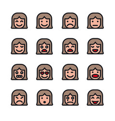female emoticons set vector image