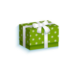flat present gift box with white ribbon bow vector image vector image