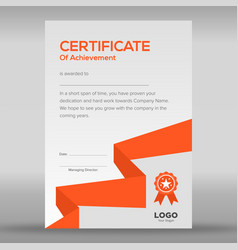 Geometric abstract orange and grey certificate vector