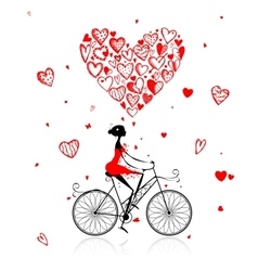 Girl cycling with big red heart for valentine day vector image