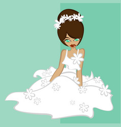 Girls in bride costume no4 vector