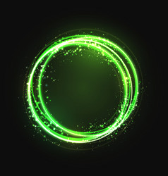 green gold circle light effect with round glowing vector image