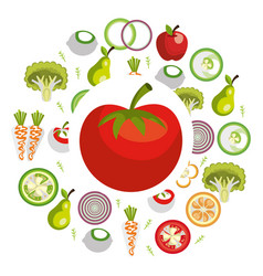 group of vegetables vegetarian food vector image