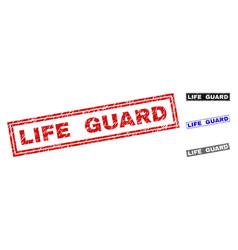 Grunge life guard textured rectangle stamp seals vector