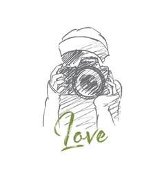 Hand drawn girl holding photocamera with lettering vector