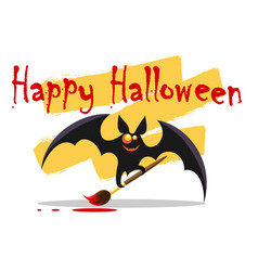 happy halloween emblem with cute bat vector image
